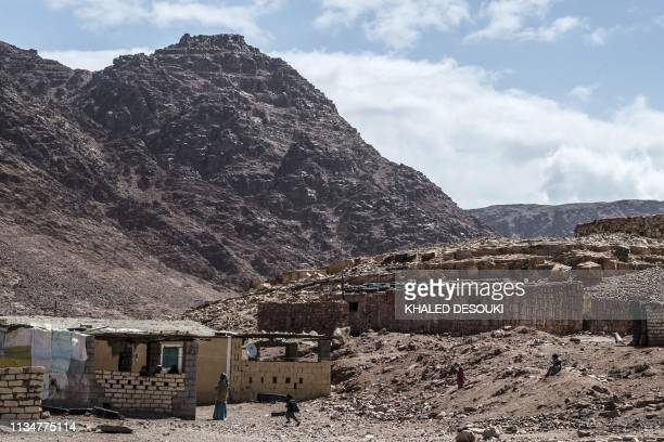 A picture taken on March 30 shows a general view of the village of alHamada in Wadi elSahu in South Sinai governorate In Wadi Sahu a village in the...