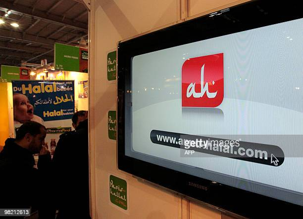 A picture taken on March 31 2010 shows an information screen promoting a website during the Halal expo part of the 'Foodsgoods' fair at the Porte de...