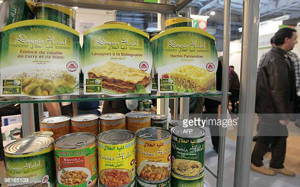 A picture taken on March 31 2010 shows ready meals and cans of Halal food shown during the Halal expo part of the 'Foodsgoods' fair at the Porte de...