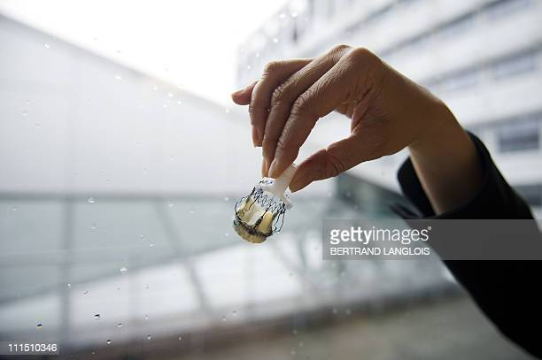A picture taken on March 31 2011 at the Institut Mutualiste Montsouris in Paris shows Perceval S the first totally sutureless heart valve with an...