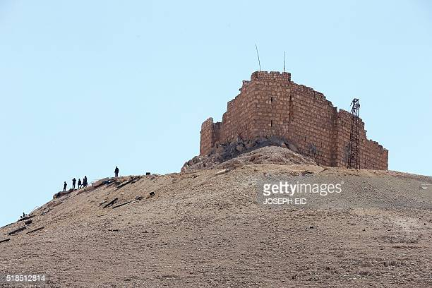A picture taken on March 31 2016 shows a view of FakhralDin alMa'ani Castle known as Palmyra citadel on a hilltop in the ancient city of Palmyra some...
