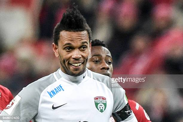 A picture taken on March 31 2018 shows Tosno's Cape Verdean midfielder Nuno Roch during Spartak and the small Russian Premier League side Tosno...