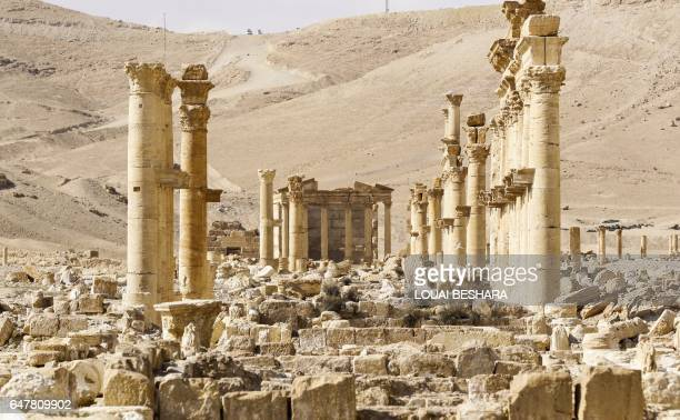 Picture taken on March 4, 2017 shows the damaged site of the ancient city of Palmyra in central Syria. Syrian troops backed by Russian jets completed...