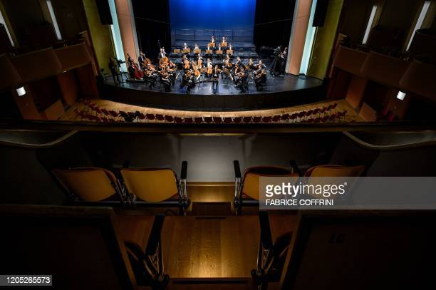 Picture taken on March 4 in Lausanne show the French classical violinist Renaud Capucon performing pieces by Beethoven, Schubert and Mozart with...