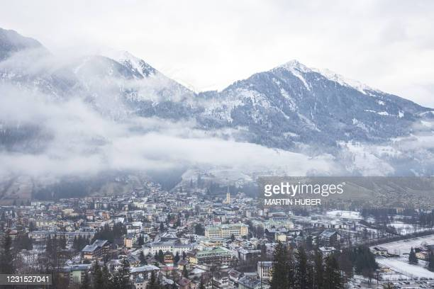Picture taken on March 5, 2021 shows a view of Bad Hofgastein, Austria, amid the novel coronavirus / COVID-19 pandemic. - In order to limit the...
