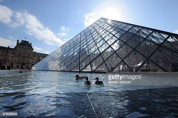 A picture taken on March 6 2010 shows the Pyramid of the Louvre museum in Paris AFP PHOTO BORIS HORVAT