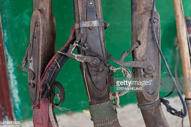 A picture taken on March 6 2016 shows Dane guns confiscated from poachers and illegal hunters at Yankari Game Reserve in northeastern Nigeria...