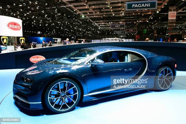 A picture taken on March 7 2017 shows the Bugatti Chiron during the first press day of the the Geneva International Motor Show in Geneva Europe's...