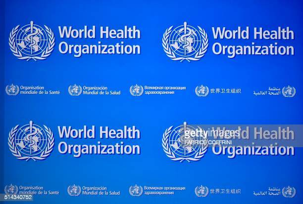A picture taken on March 8 2016 shows logos of the World Health Organization during a press conference in Geneva after a second emergency committee...