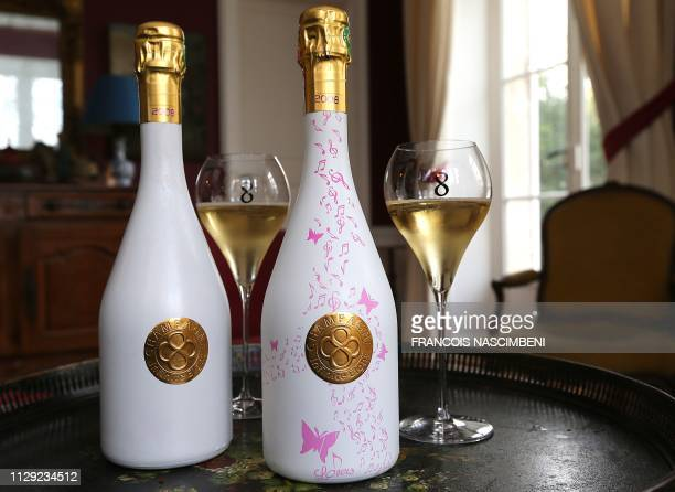 TOPSHOT A picture taken on March 8 2019 in VilleDommange near Reims northeastern France shows two bottles of Infinite Eight brand's champagne bearing...