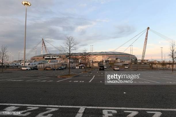 Picture taken on March 8, 2020 shows the empty parking lot of the Juventus stadium before the Italian Serie A football match Juventus vs Inter Milan...