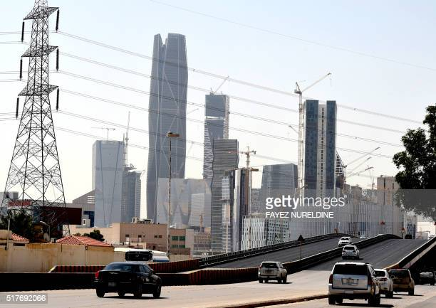 A picture taken on March 9 2016 shows towers under construction at the King Abdullah Financial District in the Saudi capital Riyadh Towers in the...