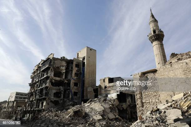 A picture taken on March 9 2017 in the northern Syrian city of Aleppo which was recaptured by government forces in December 2016 shows a general view...
