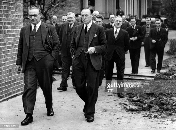 Picture taken on May 10 1937 shows British general Secretary of the powerful Transport and General Workers'Union Ernest Bevin / AFP PHOTO / FRANCE...