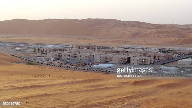 A picture taken on May 10 2016 shows over Shaybah the base for Saudi Aramco's Natural Gas Liquids plant and oil production in the surrounding Shaybah...