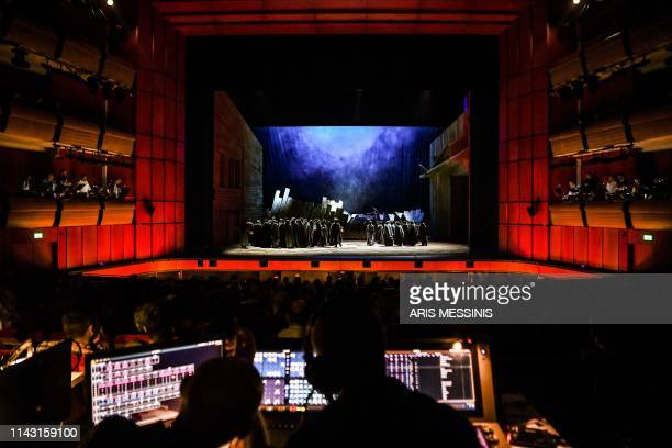 A picture taken on May 10 2019 shows a general view of the Greek National Opera in Athens during a general rehearsal of 'Lady Macbeth of Mtsensk' an...