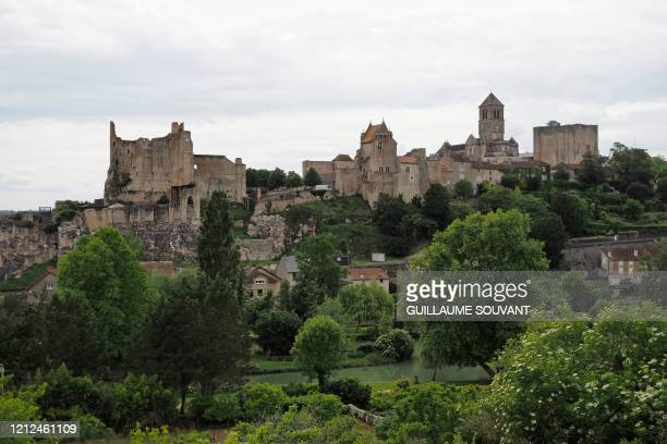 Picture taken on May 10, 2020 shows the ruins of the medieval castle of Chauvigny, central France.