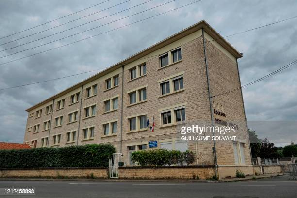 Picture taken on May 10 shows a building of the Gerard Philipe secondary school in Chauvigny, central France, where a cluster of COVID-19 cases has...