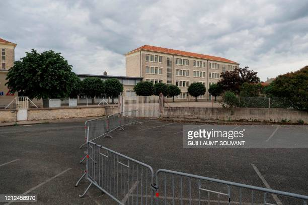 Picture taken on May 10 shows the Gerard Philipe secondary school in Chauvigny, central France, where a cluster of COVID-19 cases has been identified...