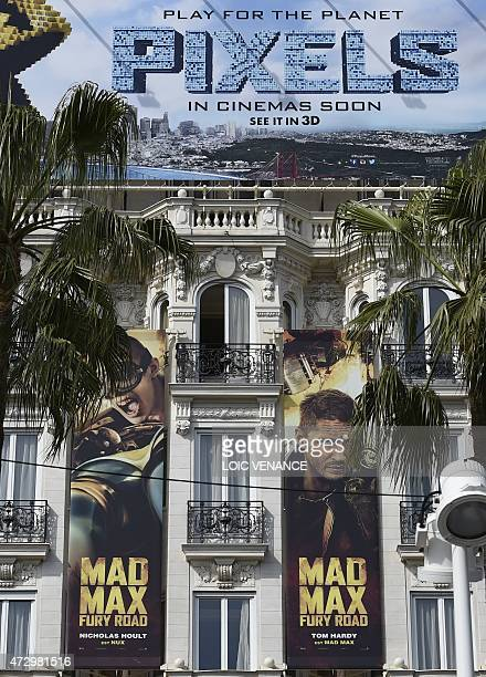 A picture taken on May 11 shows promotional billboards on the facade of the Carlton Hotel on the Croisette in Cannes southeastern France AFP PHOTO /...