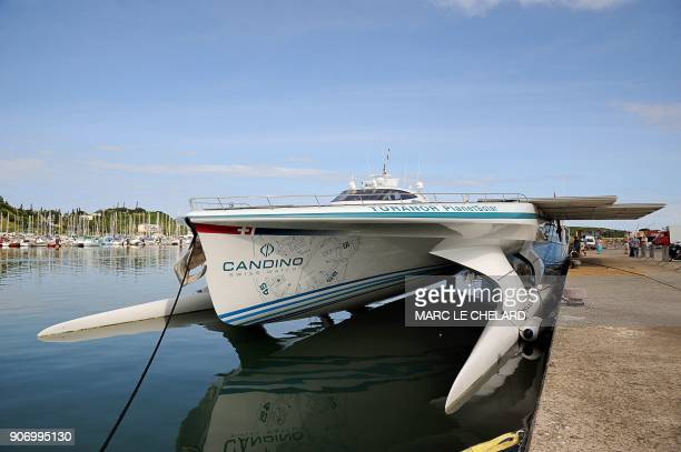 A picture taken on May 12 2011 in Noumea shows a solar powered boat the Turanor Planetsolar The vessel which the makers say is the world's biggest...