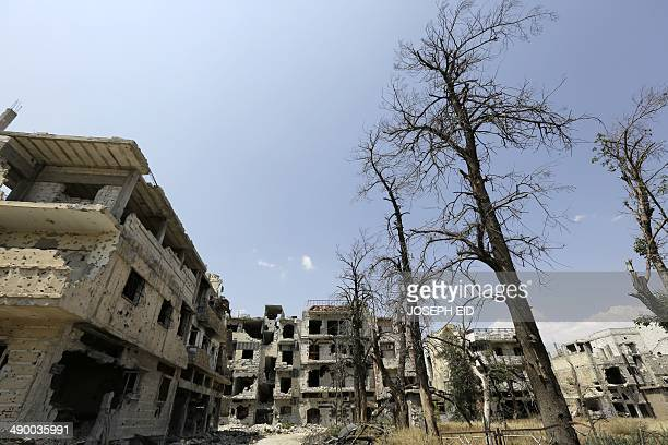 A picture taken on May 12 2014 shows heavily damaged buildings in a destroyed neighbourhood of the Old City of Homs some 162 kilometres north of the...