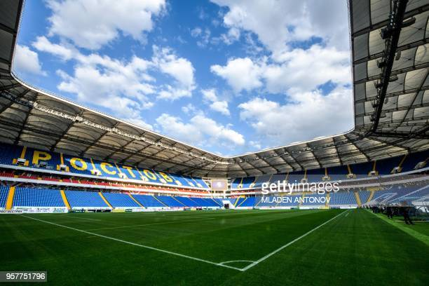A picture taken on May 12 2018 shows the pitch and the stands of Rostov Arena in RostovonDon The nearly 45000seater stadium will host five World Cup...