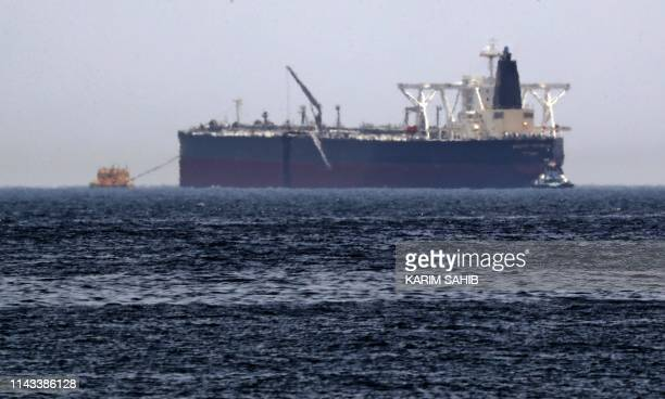 "Picture taken on May 13 shows the crude oil tanker, Amjad, which was one of two Saudi reported tankers that were damaged in mysterious ""sabotage..."