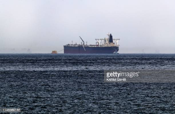 "Picture taken on May 13 shows the crude oil tanker, Amjad, which was one of two Saudi tankers that were reportedly damaged in mysterious ""sabotage..."