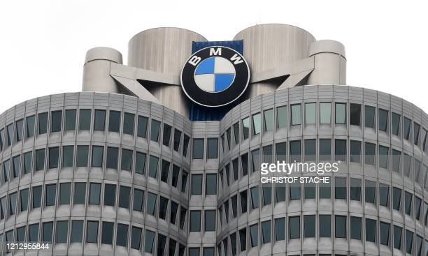 Picture taken on May 14, 2020 shows a view of the headquarters of the German car producer BMW in Munich, southern Germany, before the group's annual...