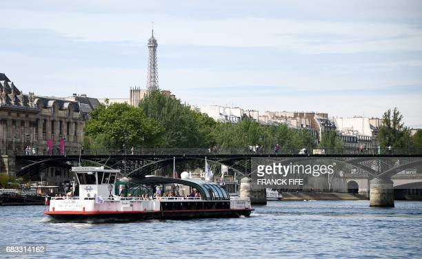 A picture taken on May 15 2017 shows a Eiffel Tower in Paris as the IOC Evaluation Commission continues its visit to Paris before a vote for the 2024...