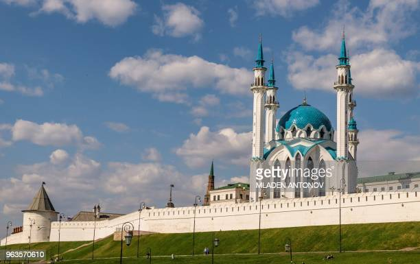 A picture taken on May 15 2018 shows the Qolsarif Mosque at the Kremlin in Kazan Kazan is one of the 11 host cities for the 2018 FIFA World Cup...