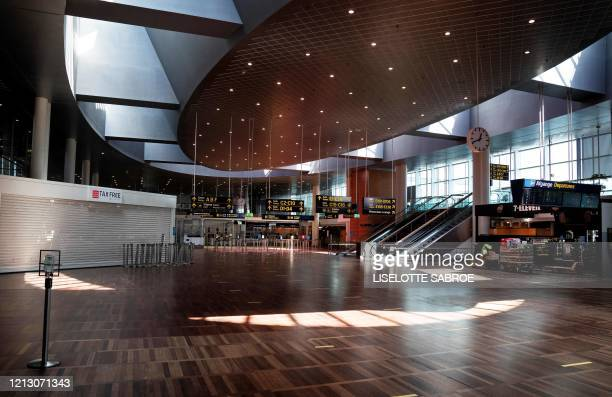 A picture taken on May 15 2020 shows a view of almost empty Copenhagen Airport amid the new coronavirus pandemic / Denmark OUT