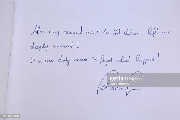 A picture taken on May 16 2016 shows the Yad Vashem Holocaust Memorial Muesum's guest book signed by the Austrian Foreign Minister Sebastian Kurz...