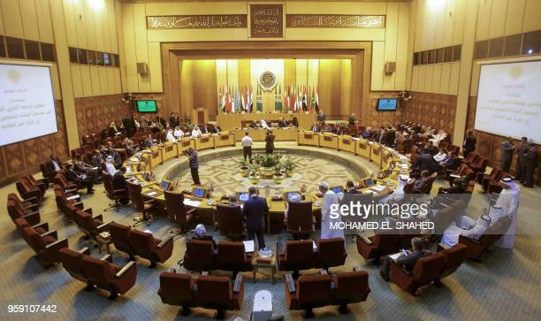 A picture taken on May 16 2018 shows a general view of the meeting of the permanent delegates of Arab League during extraordinary emergency session...