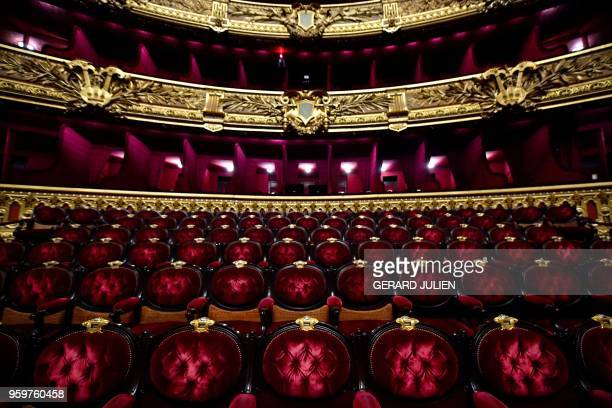 A picture taken on May 17 2018 shows the seats of the Opera Garnier in Paris