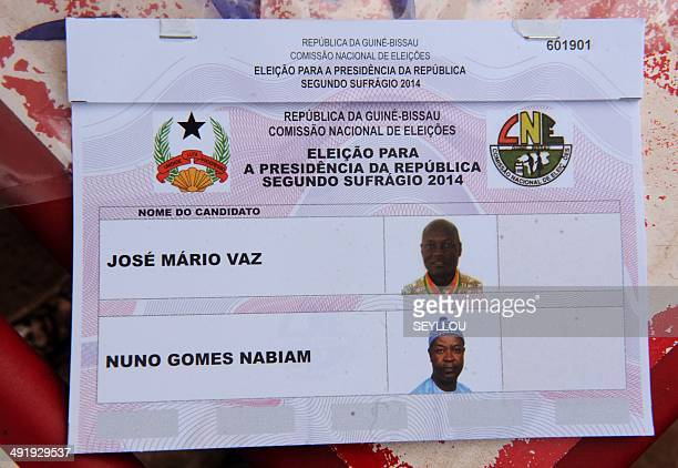 A picture taken on May 18 2014 shows a ballot bearing the names of Nuno Gomes Nabiam an independent candidate and former finance minister Jose Mario...