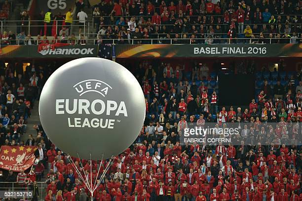 A picture taken on May 18 2016 shows Liverpool's supporters and a balloon reading 'UEFA Europa League' prior to the UEFA Europa League final football...