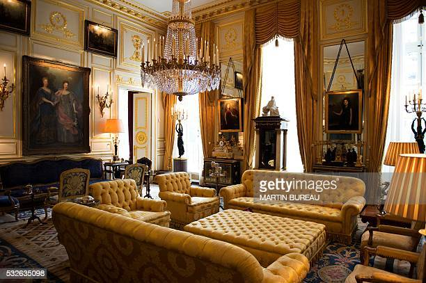 A picture taken on May 19 2016 in Paris shows the livingroom of the Feuquieres hotel of Robert Zellinger de Balkany The set of furnitures will be...