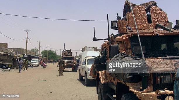A picture taken on May 2 2016 in Timbuktu shows UN mission in Mali peacekeping forces vehicle during a patrol / AFP / souleymane Ag Anara