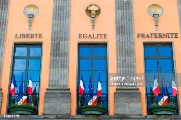 A picture taken on May 2 2018 shows the city hall in Aurillac The initiative 'A roof a job' helps former homeless people to make a fresh start in...