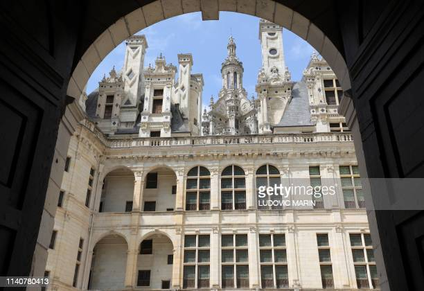 A picture taken on May 2 2019 shows a view inside a courtyard of Chambord Castle during commemorations of the 500th anniversary of the death of...