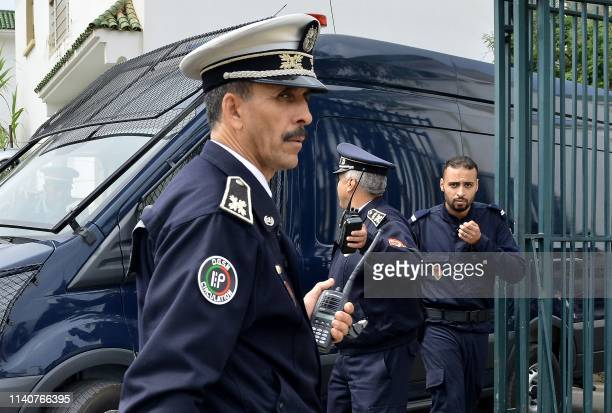 Picture taken on May 2, 2019 shows police presence outside a court in Sale near the capital Rabat ahead of the trial of two dozen suspects charged in...