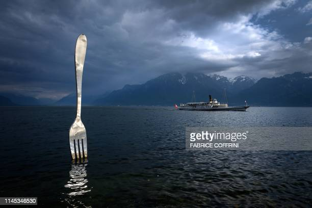 A picture taken on May 21 2019 in Vevey shows the paddle steamer 'Italie' of the Compagnie Generale de Navigation sur le lac Leman commonly...