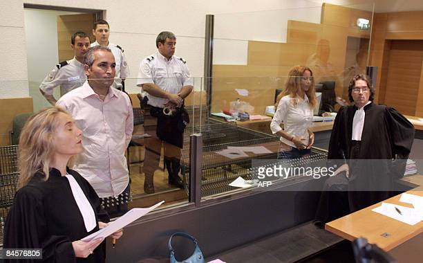 A picture taken on May 22 2007 at the Nice's courthouse shows Mohammed M'Barek and his sister Jamila M'Barek accused of murdering an English Lord to...