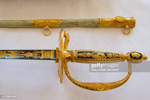 A picture taken on May 22 2015 shows a close up of a Napoleonic court sword manufactured by French goldsmith Martin Guillaume Biennais and later...