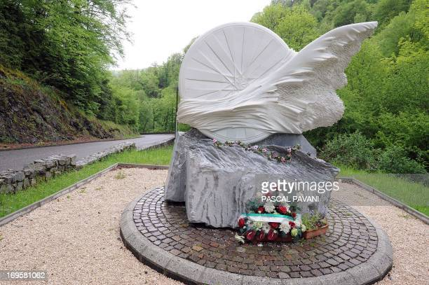 A picture taken on May 23 2013 in Portetd'Aspet shows a memorial for Italian cyclist Fabio Casartelli where he died in a crash on the descent of the...