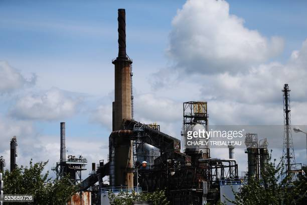 A picture taken on May 23 2016 shows the ExxonMobil refinery in NotreDamedeGravenchon northwestern France following the blockades of several oil...