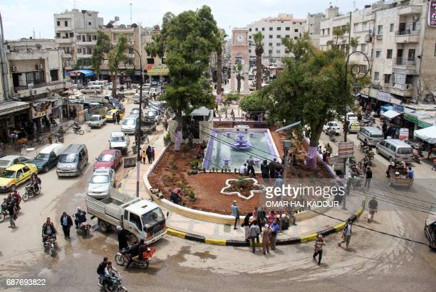 A picture taken on May 24 2017 shows a general view of a square in the northern Syrian city of Idlib as Syrians prepare for the holy month of Ramadan...