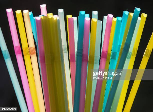 A picture taken on May 24 2018 in Sieversdorf eastern Germany shows plastic straws The EU Commission is to present a plan to ban the singleuse...